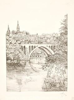 """Unframed Signed and Numbered Black & White Print of Key Bridge.   Measures 17"""" x 23"""""""