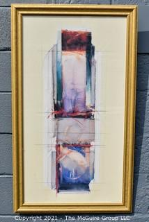 """Framed Under Glass Abstract Print.  Measures 24"""" x 35""""."""
