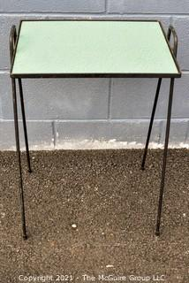 Mid Century Modern Wrought Iron Side Table with Green Formica Top.
