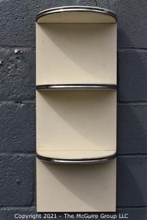 "Mid Century Art Deco White Half Moon White with Chrome Detail Wall Shelf.  Measures 30"" x 12"" x 7""."