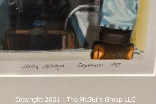 """Framed Under Glass Silkscreen Entitled """"Jessie's Ice Cream Store 1987"""", Pencil Signed and Numbered by Nancy McIntyre"""
