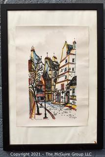 Framed French Street Scene Print.