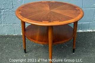 Vintage Mid Century Modern Lane Acclaim Drum Table Designed by Andre Bus. Scratch on top.  Measures 28″D x 21″T.