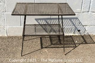 Mid-Century Wrought Iron Mesh Patio Garden Table