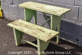 Vintage Primitive Weathered Green Painted Tiered Garden Bench.