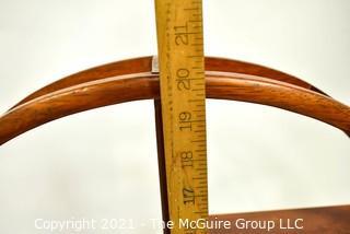"Asian Rosewood Mingei Display Table Top Curio Shelf Stand.  Measures 20"" diameter x 4"" deep."