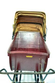 Vintage Red with Leather Hood South Bend Toy Wooden Baby Doll Carriage