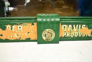 """Vintage Green Painted Metal Art Deco Medicamenta Vera Parke Davis Products Display Cabinet, Marked PD&Co.  Measures  23"""" x 8 1/2"""" x 20 1/2""""."""