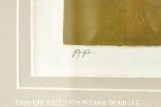 """Framed Under Glass Silkscreen Entitled """"The Tune Inn 1979"""", Pencil Signed and Numbered by Nancy McIntyre. Measures 24"""" x 31""""."""