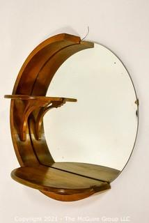 Vintage Art Deco Round Scroll Products Wall Mirror.