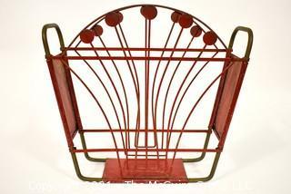 "Vintage Art Deco Red Painted Cast Iron Magazine Rack.  Measures 5"" x 14"" x 15""."