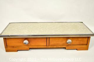 """Vintage Two Drawer Maple with Formica Top Dresser Organizer.  Measures 30"""" x 12"""" x 7""""."""