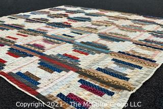 """Vintage Hand Made Quilt in the Railroad Block Pattern. Measures 75"""" x 77""""."""