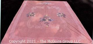 Vintage Mid Century Modern Pink Flower Basket Chenille Bedspread
