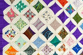"""Vintage Hand Made Quilt in the Cathedral Window Pattern. Measures 57"""" x 63""""."""