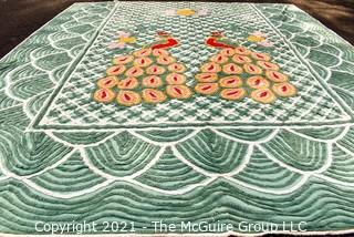 "Vintage Mid Century Peacock Chenille Green Bedspread.  Measures 89"" x 99""."