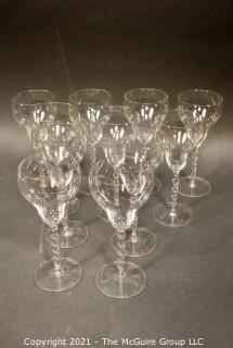 Eleven (11) French Lead Crystal Barley Twist Stem Wine Glasses