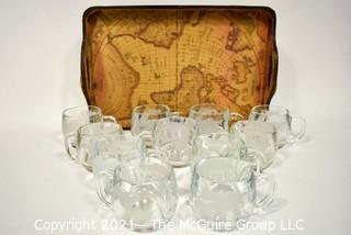 Set Of 11 Vintage Nestle Nescafe World Globe Coffee Mug Cups with Tray.