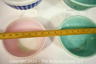 Group of Four (4) Pottery and Glass Mixing Bowls Includes Pyrex & Homer Laughlin.