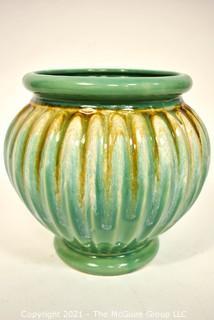 "Vintage Robinson Ransbottom Co Green & Brown Roseville Pottery Pedestal Planter.  Measures 9"" x 6""."