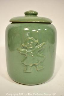 Vintage Pottery Cookie Jar with Gingerman.