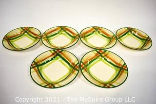 Set of Six (6) Vintage Vernonware Tam O'Shanter Pattern Porcelain China Bowls From Vernon Kiln, California.
