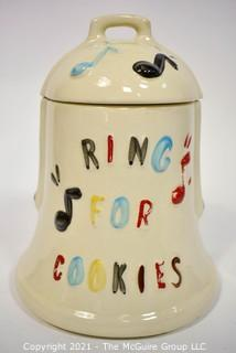 """Vintage """"Ring for Cookies"""" Pottery Cookie Jar with Bell in Lid. 10""""T"""