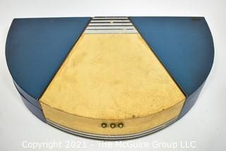 Blue & White Half Moon Art Deco Silver Flatware Box.
