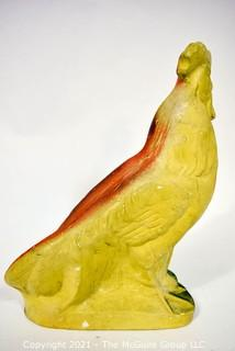 """Bright Painted Plaster Ceramic Rooster.  Measures 9"""" x 12""""."""
