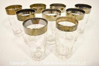 Set of Nine (9) Dorothy Thorpe Midcentury Silver Fade Barware Glasses