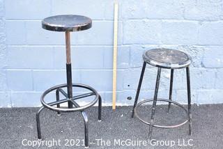 Two Vintage Industrial Metal Stools.