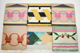 "Six (6) Hand Poured Cement Tiles.  Each Measure 8"" Square."