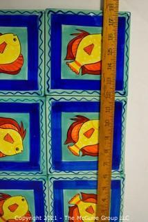 "Painted Ceramic Fish Tiles.  Each measure 6"" square."