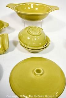 Set of Russel Wright Steubenville Mid Century Modern (MCM) Dishware in Chartreuse Green.