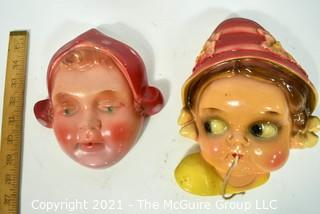 Two (2) Mid Century Vintage Dutch Girls  Chalkware Wall String Dispensers