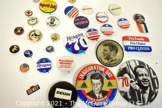 Collection of Vintage Political Pins and Buttons.