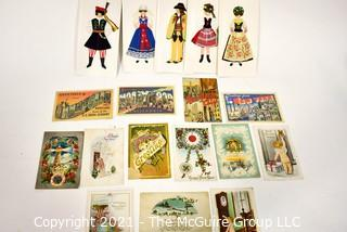 Group of Vintage Postcards and Hand Made Greeting Cards with Polish Costume Applique
