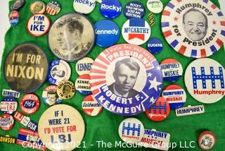 Collection of Vintage Mid Century Political Pins and Buttons Including Kennedy and Nixon.