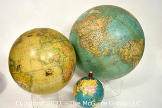 Three (3) Vintage World Globes Without Stands.