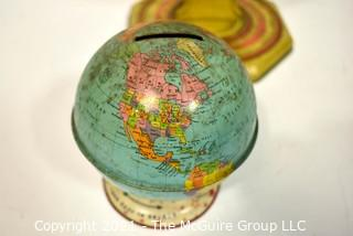 Two (2) Vintage Metal World Globes. One with Zodiac Chart on Base and One Coin Bank.