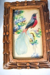 Five (5) Vintage Souvenir Decorative Items Made in Mexico from Bird Feathers.