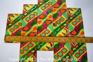 """Ten (10) Mid-Century Artisan Made High Fire Enamel On Copper Wall Art Plaques or Tiles.  Each measures 3"""" x 6""""."""