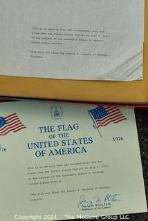 American Flag Flown Over The Capital on July 4th, 1976 at the Request of Edward M. Kennedy, US Senator for Albert Burrola, in Box with Paperwork .  Measures 3' x 5'.