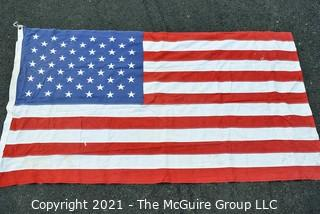 """Vintage Stitched with Embroidered Stars Cotton 50 Star American Flag Made by Defiance. Measures 30"""" X 57""""."""