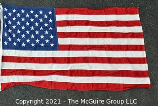 """Vintage Stitched with Printed Stars Cotton 50 Star American Flag. Measures 32"""" X 56""""."""