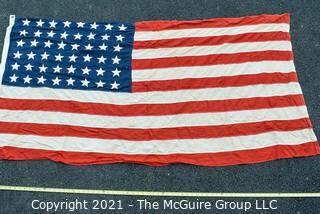 """Vintage 48 Star American Flag with Cotton Stitched Stripes & Applique Stars. Measures 37"""" X 75""""."""
