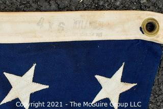 """Vintage Cotton 48 Star American Flag Stitched Stripes with Applique Stars. Measures 47"""" X 69""""."""