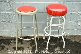 Two (2) Vintage Mid Century Diner Stools with Red Vinyl Seats.
