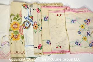 Group of Vintage Hand Embroidered Linens.