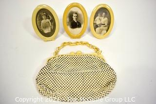 Three (3) Vintage Celluloid Oval Frames and Whiting And Davis Alumesh Purse with Bakelite Clasp and Chain.